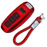 kaser Funda de Silicona para Llave Audi – Cover Mando Distancia Carcasa de TPU Cromo Suave para Keyless Audi A1 A3 A4 A5 A7 A8 Q3 Q5 Q7 TT Protección con Llaveros (Rojo)