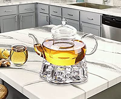 Sun's Tea 32oz (950 ml) Ultra Clear | Lead-free | No Metal or Plastic Parts | Borosilicate Glass Teapot & See-thru Glass Infuser - For Loose Tea, Bagged and Flowering Teas