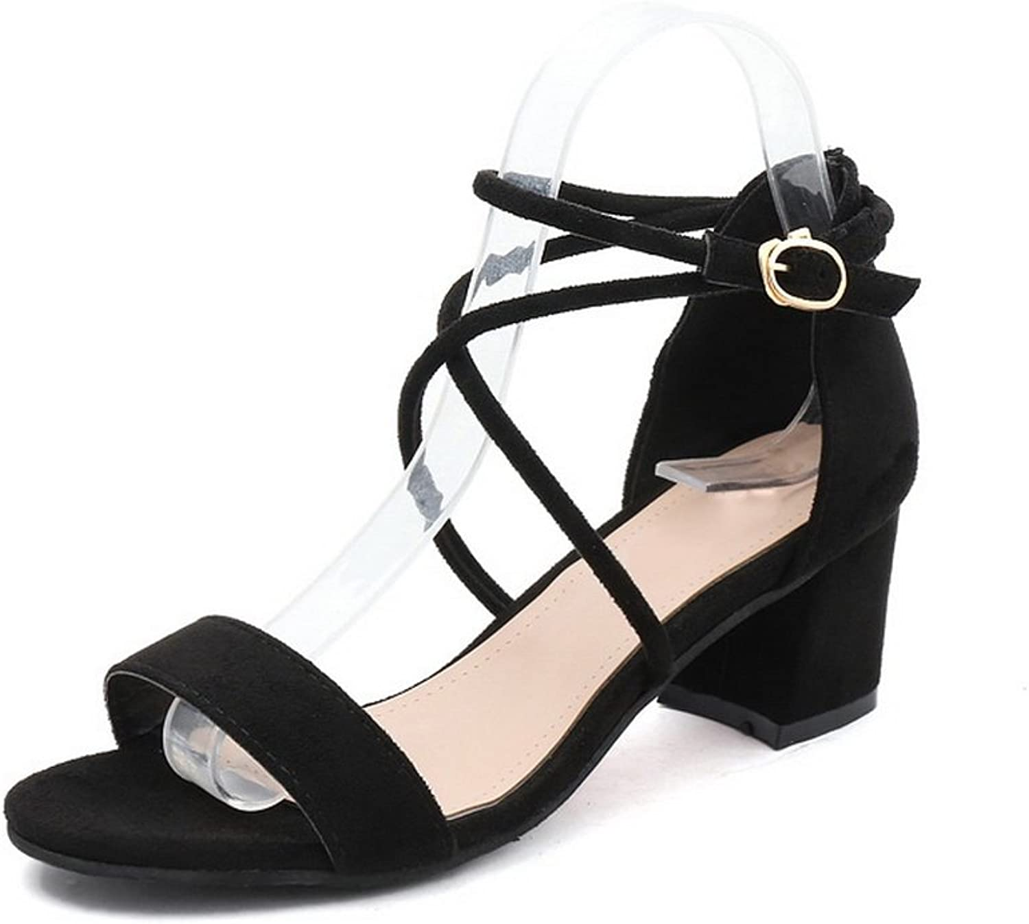 1TO9 Womens Chunky Heels Buckle Low-Cut Uppers Suede Heeled Sandals MJS02559
