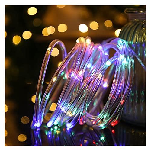 XIAN-jing Cadena de Luces solares para Exteriores, iluminación Decorativa, Blanco cálido con 8 Modos, iluminación para Festivales, Impermeable, Multicolor para Patio, jardín, Fiestas de Navidad