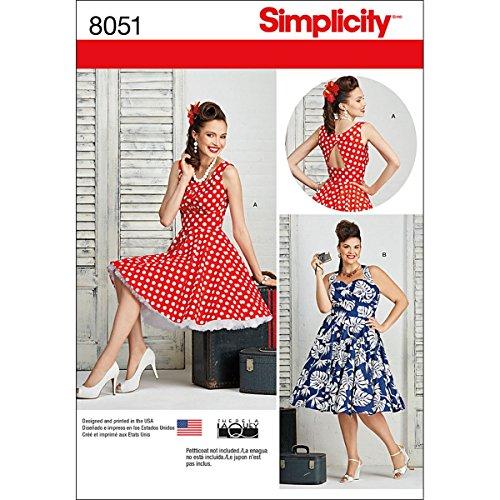 Simplicity 8051 Schnittmuster für Damenkleid im Stil der 1950er Jahre, Vintage-Stil, von Theresa Laquey, Größen 50-50 W