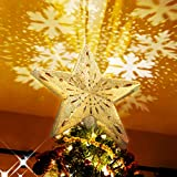 BATTOP Christmas Tree Topper,Christmas Tree Star Topper Lighted with White Rotating...