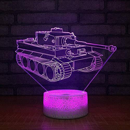 3D Illusion Lamp Led Night Light Tank Crack White Base 7 Colors Burst for Kid Touch USB Table Lamp Sleeping Kids Gift Home Baby Decor Toys Room Bedroom Light Birthday Decoration