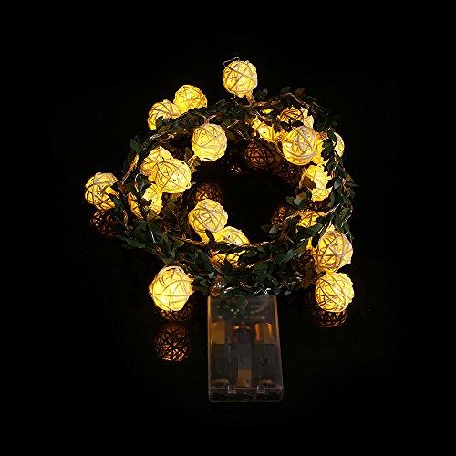 20 LED Lichterketten Rattan Ball Weihnachtsschnur Batterie Box Lichterkette Garten Weihnachtsfeier Lauflichter Leds Wasserfest Warmweiß Weihnachten Party Schlafzimmer Innen AußEn