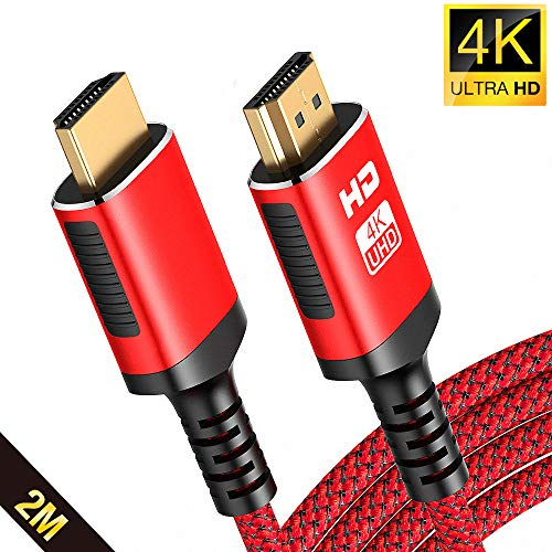 2Meter 4K HDMI Kabel - Snowkids Highspeed HDMI 2.0 des Rutschfesten Kabel 4K@60HZ Aktualisierte Version mit 18Gbps HDCP 2.2, 3D UHD Ethernet ARC-kompatiblem HDTV, X-Box, PS4, Projektor - Rot