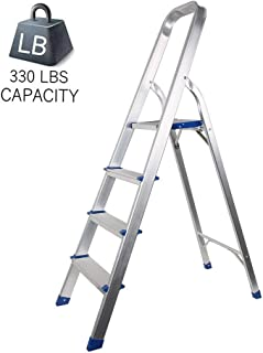 """Dporticus Portable 4 Step Non-Slip Aluminum Ladder Folding Platform Stool with 330 lbs Load Capacity Silver,31.5"""" Height t..."""