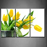 First Wall Art - 3 Panel Wall Art Green Spring Flowers Yellow Tulip Painting Pictures Print On Canvas Flower The Picture for Home Modern Decoration Piece (Stretched by Wooden Frame,Ready to Hang)
