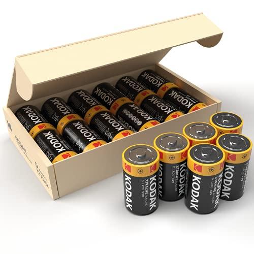 Kodak Xtralife D Mono LR20 Alkaline-Batterien, hohe Kapazität, ideal für Spielzeug mit hohem Stromverbrauch, Taschenlampen und andere batteriebetriebene Geräte, 12 Stück