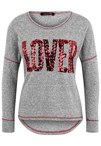 miss goodlife Damen Pullover Lover Paillettenapplikation