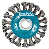 Makita 1 Piece - 4 Inch Knotted Twist Wire Wheel Brush for Grinders - Heavy-Duty Conditioning for Metal - 4' x 5/8-Inch | 11 UNC