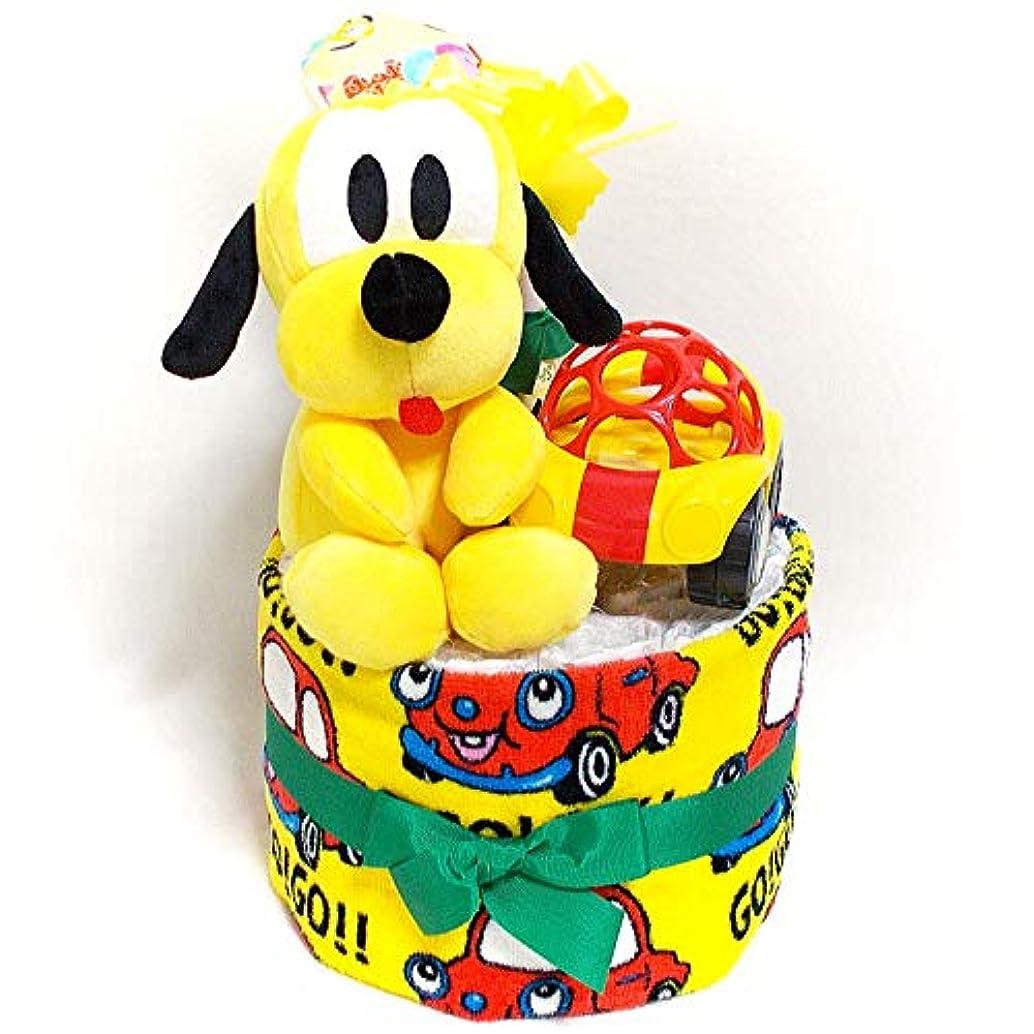 ジェーンオースティンカラス19029おむつケーキ2段 男女共用 プルートとOball車のおもちゃ ディズニーキャラクターオムツケーキ出産祝い