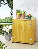 Kleiner Gartenschrank in schönem Holzdesign + Pflanztisch