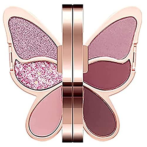 Paleta De Sombras De Ojos Butterfly - 6 Colores Paleta De Sombras De Ojos Butterfly Shimmer Glitter Cosmetic Beauty Kit Sombra De Ojos En Polvo 04# Purple Chess East