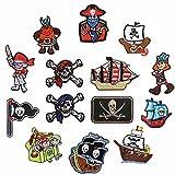 MIWIND 14 parches de pirata bandera parches de cráneo apliques para planchar o coser en barco bordado parche para ropa insignia pantalones vaqueros mochila camiseta