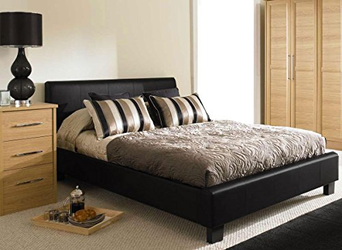 MODERNIQUE 4ft6 Double Black Designer Modern Faux Leather Bed Frame