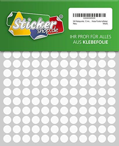 540 Klebepunkte, 12 mm, weiß, aus PVC Folie, wetterfest, Markierungspunkte Kreise Punkte Aufkleber