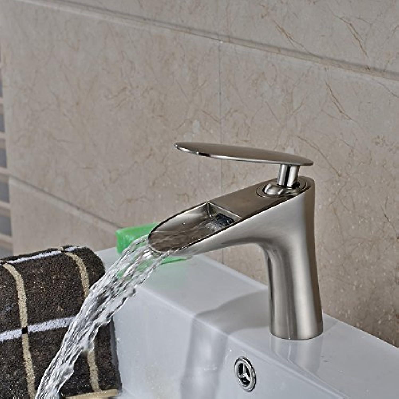 Maifeini Classic Bath Faucet Brushed Nickel Deck Single-Handle Basin Mixer