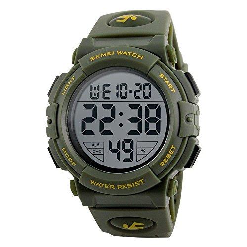 Men's Digital Sport Watch Waterproof Led Electronic Military Wrist Watch with Alarm Stopwatch Calendar Date Window (Green)