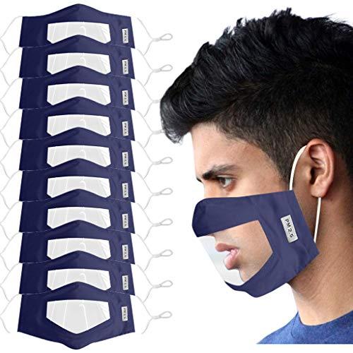 10 pcs M_Ascari_llas pañuelos de algodón Protección Reutilizables con Ventana Transparente y Tela cómoda Ajustable para Mujeres y Hombres sordos y con Problemas de audición