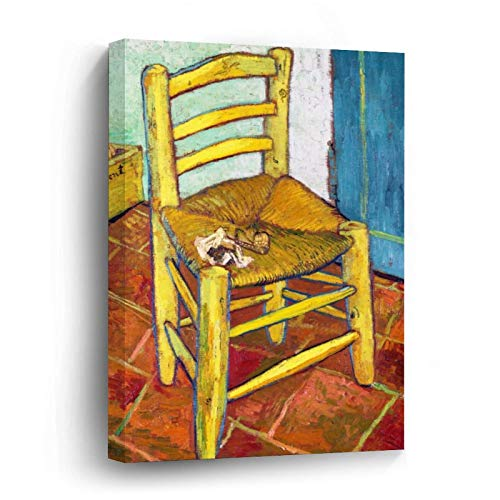 Van Gogh's Chair Vincent Van Gogh Fine Canvas Picture Painting Artwork Wall Art Poto Framed Canvas Prints for Bedroom Living Room Home Decoration, Ready to Hanging 8'x8'