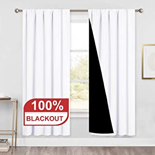 PONY DANCE Blackout Curtains White - (52 x 72 inches, Pure White) Completely Room Darkening Thick Double Layers Heavy-Duty Drapes Curtains Noise Reducing for Living Room, 2 Panels