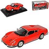 Bburago Ferrari Dino 246 GT Coupe Rot 1969-1974 1/24 Modell Auto mit individiuellem Wunschkennzeichen
