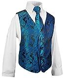 Festliche Kindermode Kinder Weste für Jungen 3tlg Petrol blau Paisley + Kinderhemd + Krawatte I Hochzeit 152 (12 Jahre)
