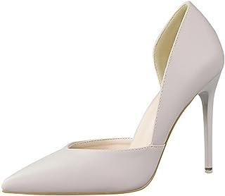 cc62e6ecb69158 Minetom Femme Doux Escarpins Sexy En PU Verni Talon Aiguille Haut  Chaussures Mariage Pumps Stiletto