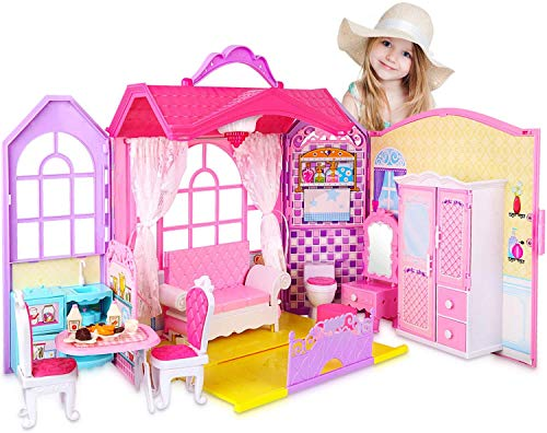 SUPER JOY Doll House Folding Dollhouse with 70+ Furniture Accessories, Portable Doll's House Playset with Carrying Handle Pretend Toy House Dream Gift for Girls
