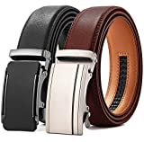 Chaoren Leather Ratchet Belt 2 Pack Dress with Click Sliding Buckle 1 3/8' in Gift Set Box - Adjustable Trim to Fit