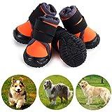 Petilleur Botas para Perros Respirable Zapatos para Perros Antideslizante para Actividades Al Aire Libre (70, Naranja)