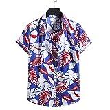 YSYOkow Camisa de algodón de lino y manga corta con botones para hombre