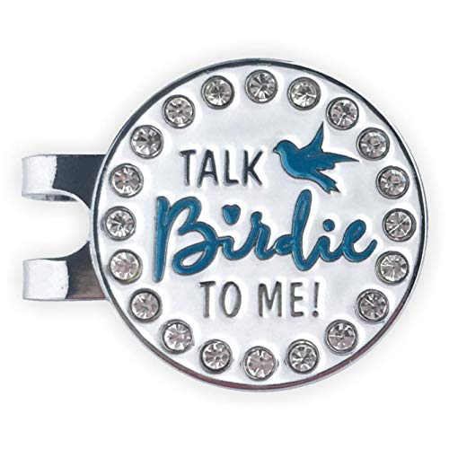 Flamingo Creek Bling Golf Ball Marker and Hat Clip Talk Birdie to Me Womens Golf Gift Set Includes 2 Golf Ball Markers 1 Hat Clip
