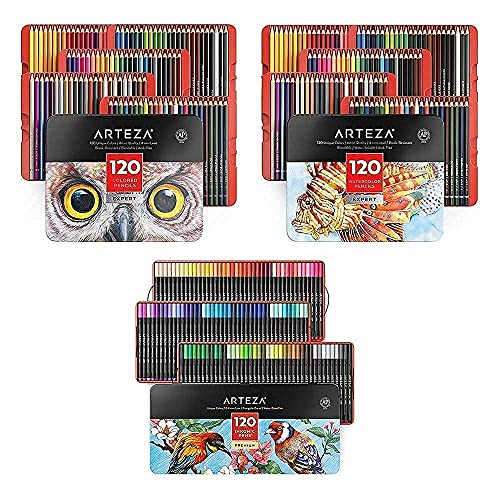 Arteza Colored, Watercolor Pencils and Fineliner Pens Bundle, Drawing Art Supplies for Artist, Hobby Painters & Beginners