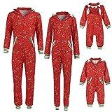 Navidad POLP Mameluco con Capucha Pijamas Familiares Monos Estampado Padres e Hijos Ropa de Dormir con Cremallera y Bolsillo Mujer Hombre Niños Pijamas de una Pieza