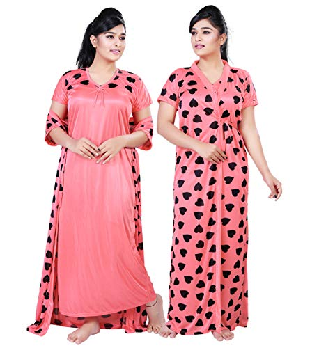 Bailey sells Women's Satin Printed Slip & Robe (Bailey1378_Pink_Free Size)