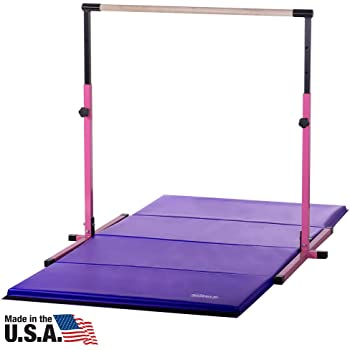 Nimble Sports Pink Adjustable Gymnastics Bar and 4 Feet X 8 Feet Purple Gymnastics Mat