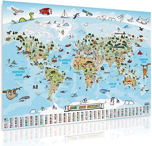 GOODS+GADGETS Panorama Weltkarte für Kinder XXXL - 160 x 120 cm Kinder-Weltkarte komplett handgezeichnet und koloriert (Deutsch - XXXXL Poster - 160 x 120 cm)
