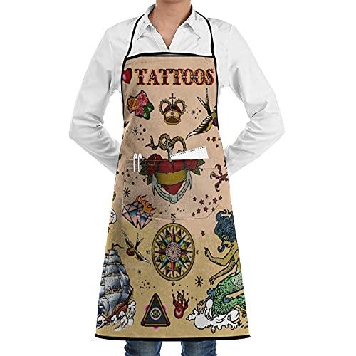 LOSNINA Delantal de cocina impermeable para hombres delantal de chef para mujeres restaurante de jardinería BBQ cocinar ,Tatuaje Cráneo Sirena Barco Cuchillo Aves Marinas Caballo Corbata de coche