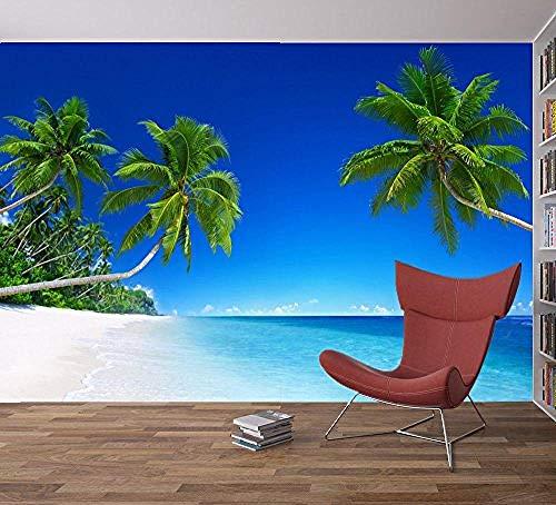 Relovsk fotobehang strand, tropische boom, zee blauwe hemel fotobehang, wandschilderij voor thuis, slaapkamer, decoratie 350 cm x 256 cm.