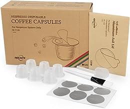 علب مرشحات القهوة القابلة للاستعمال مرة واحدة من ريكابس، تتوافق مع ماكينات نسبريسو واسبريسو القابلة للتعبئة، 120 قطعة بيضا...