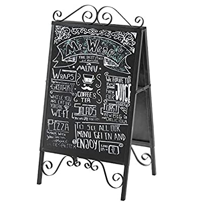 MyGift Scrollwork Design Large A-Frame Black Metal Freestanding Chalkboard Sign/Decorative Restaurant Menu Sidewalk Message Board