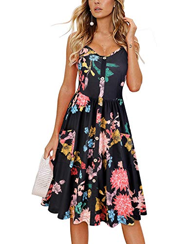 KILIG Women's Summer Sundress Spaghetti Strap Button Down Dress with Pockets(C2-Floral,XX-Large)