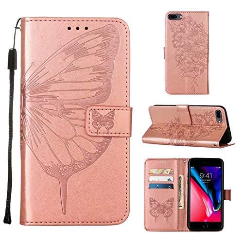 WJMWF Compatible con Funda iPhone 6 Plus/7 Plus/8 Plus Mariposa Volador Patrón Relieve PU Cuero Wallet [Cierres Magnéticos] [Ranuras para Tarjetas] [Soporte Plegable] Anti-Shock Caso-Oro Rosa