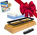 Whetstone Knife Sharpening Stone: 2-Sided Knife Sharpener Set, 1000/6000 Grits, with Non-Slip Base,...