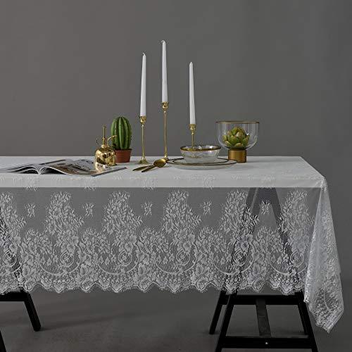 Creek Ywh kant tafelkleed, wit, retro, tv-kast, salontafel van stof, voor meisjes met hart, rood, kant, 145 x 180 cm