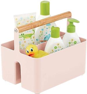 mDesign rangement chambre enfant – boite de rangement en plastique sans BPA et poignée en bois pour couches & Cie. – panie...
