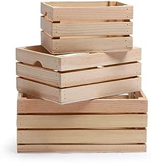 Rustic Decorative Wood Crates (Set of 3) (Natural Wood)