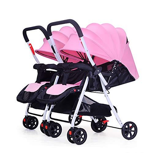 TY-Baby trolley Mmm @ Poussette jumelle de bébé, Chariot Infantile de Renversement léger Pliable démontable de Chariot à Double Nourrisson Chariot ( Color : Rose )