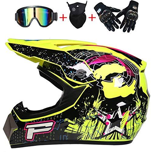 DBSCD Racing Motocross Helm, Integralhelm, für Gelb, Kinder Motorrad Offroad BMX Reithelm, Männer Frauen Straßenhelme Fahrrad MTB Helme mit Brille